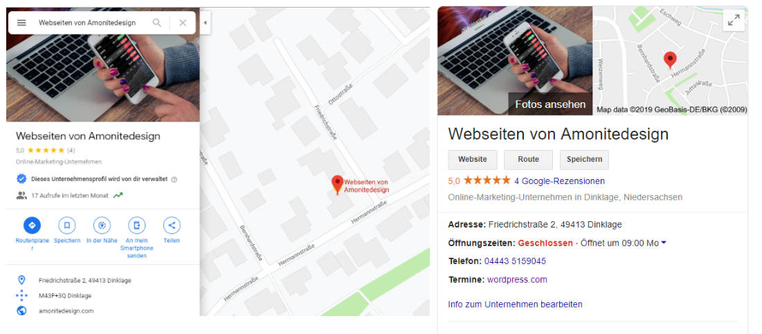 Google Präsenz, Google My Business, Google Business, Googlesuche, Suchergebnis